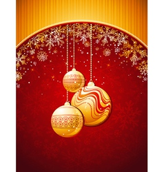 red christmas background with golden balls vector image
