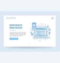 Responsive design web banner blue vector