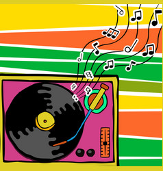 retro 80s cartoon vinyl player music art vector image