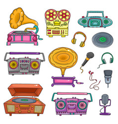 retro musical equipment collection of stylish vector image