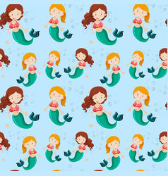 Seamless background with mermaids vector