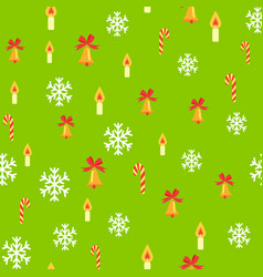 Seamless pattern with jingle bells and snowflakes vector
