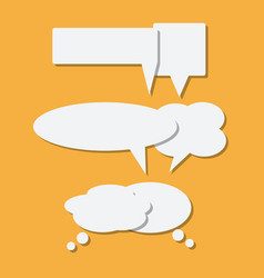 set of paper white speech bubble icons with shadow vector image