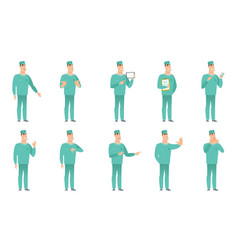 Set of surgeon characters vector