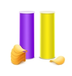 Set of Yellow Purple Tube with Chips vector