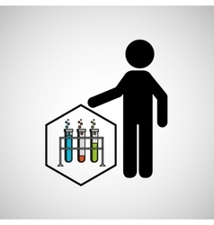 silhouette man science test tube on rack vector image