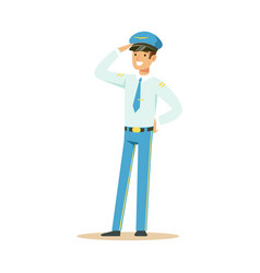 smiling airline pilot in uniform standing and vector image