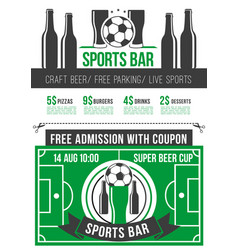 Sport bar menu poster with soccer ball and beer vector