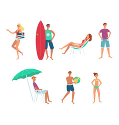 summer sea vacation people flat set vector image