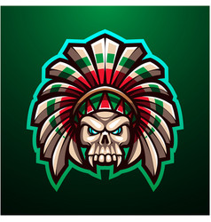 tribal skull head mascot logo vector image