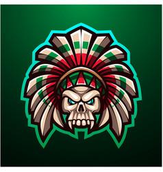 tribal skull head mascot logo vector image
