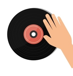 Vinyl retro music icon vector
