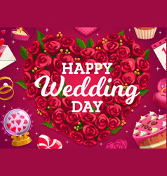 Wedding wreath cake and love heart flowers vector