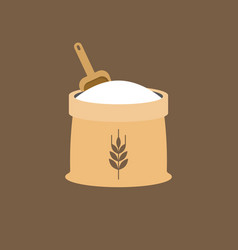 Wheat flour icon with wooden scoop vector