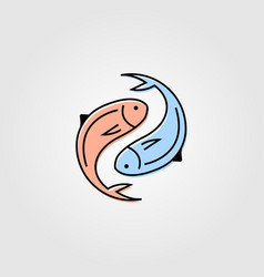 Yin yang fresh fish logo label packaging seafood vector