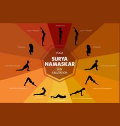 yoga infographics surya namaskar sequence vector image