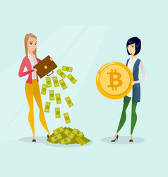 young woman in need of bitcoins to make payment vector image