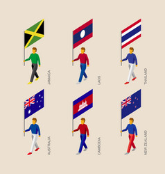 3d people with fags of lasian countries vector
