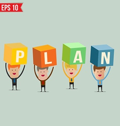 Business man showing PLAN box - - EPS10 vector image