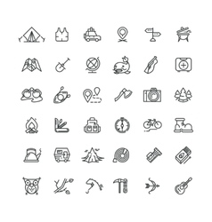 Camping and outdoor line icons set vector image vector image