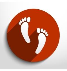 Human foot print web flat icon vector image