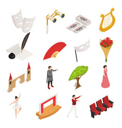 isometric theatre icons collection vector image vector image
