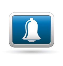Ringing bell icon on blue with silver button vector image vector image