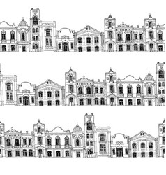seamless pattern with different houses vector image vector image