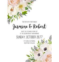 Wedding invitation invite card design pink peach vector