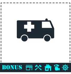 Ambulance icon flat vector image vector image