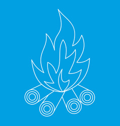 Bonfire icon outline style vector