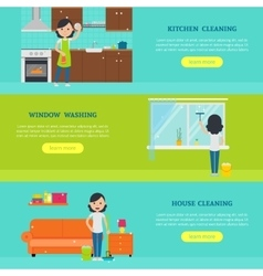 Cleaning Service Horizontal Banners vector image