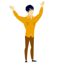 Successful asian businessman jumping vector