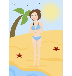 Beautiful woman in a bathing suit on the beach vector