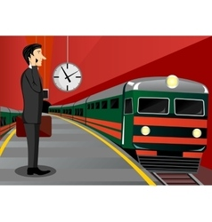 businessman waiting for the train vector image vector image