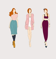 Hand drawn fashion models vector image vector image