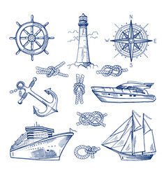 marine doodles set with ships boats and nautical vector image