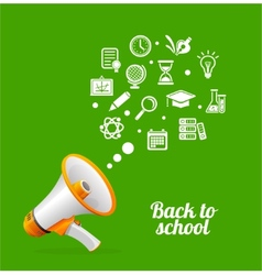 Megaphone and icon Back to school concept vector image vector image