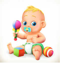baby and toys 3d icon vector image vector image