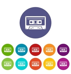 Cassette tape set icons vector image