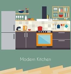 Kitchen interior Flat design kitchen concept vector image