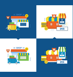 Online shop payment and delivery secure vector