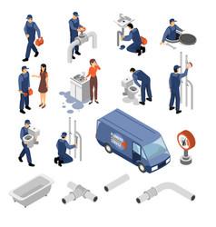 plumber isometric icons set vector image