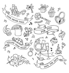 set of doodles valentines icons signs and symbols vector image vector image