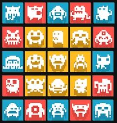 Set of flat pixels art monsters vector image vector image
