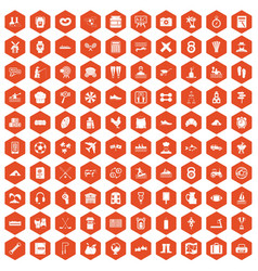 100 activity icons hexagon orange vector
