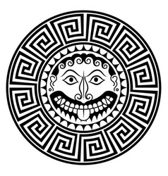 ancient greece shield with gorgon medusa head vector image