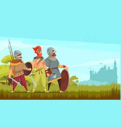 Ancient warriors background vector
