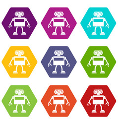 Android robot icon set color hexahedron vector