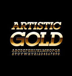 artistic gold alphabet letters and numbers vector image